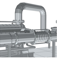 Industrial equipment pipeline wire-frame eps10 vector