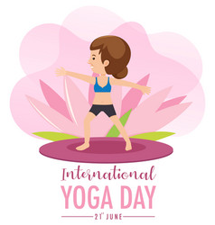 International yoga day banner with old woman vector