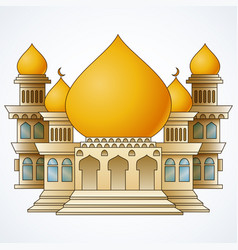 islamic mosque building with yellow dome and four vector image
