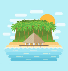 island with bungalow on beach in flat design vector image