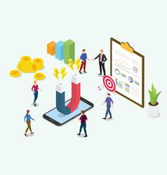 Isometric 3d customer retention marketing concept vector