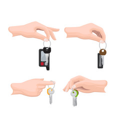 Keys on keyring in human hand flat set vector