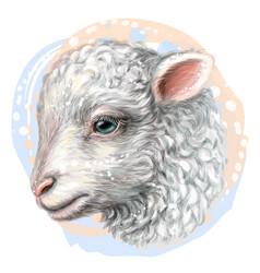 Lamb artistic hand-drawn color portrait vector