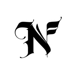Letter n in gothic style alphabet the symbol vector