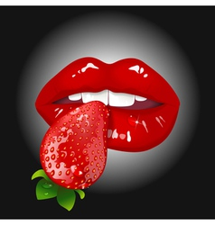 lips with strawberry vector image vector image