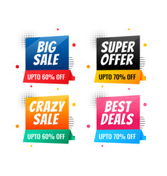 memphis style sale and discount banner set vector image
