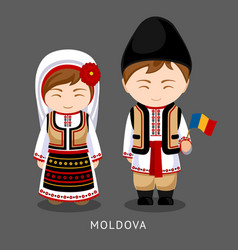 moldovans in national dress with a flag vector image