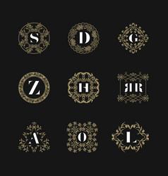monogram emblem insignia set calligraphic logo vector image