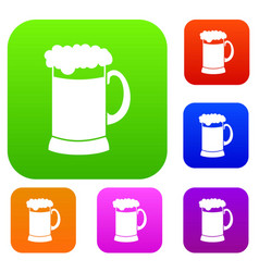 Mug of dark beer set collection vector