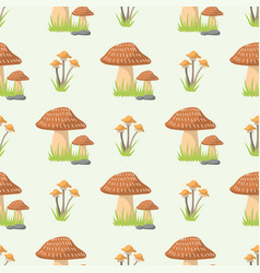 Mushrooms seamless pattern different types of vector