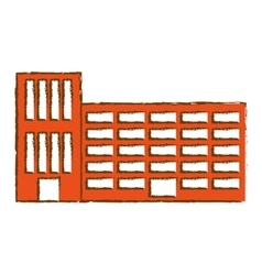 Orange city school building line sticker vector