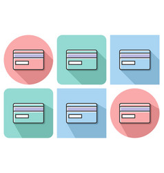 outlined icon of bank card with parallel and not vector image