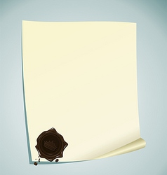 Paper with brown wax sealing vector