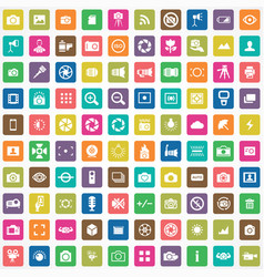 Photography 100 icons universal set for web and ui vector
