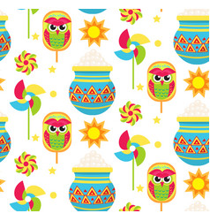 Pohela boishakh kids seamless pattern bengali new vector