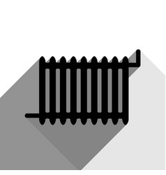 radiator sign black icon with two flat vector image