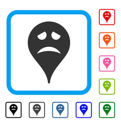 Sadly smiley map marker framed icon vector