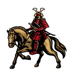 samurai warrior riding horse vector image