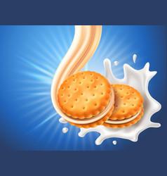 Sandwich cookies with delicious vanilla cream flow vector