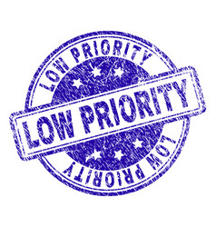 Scratched textured low priority stamp seal vector