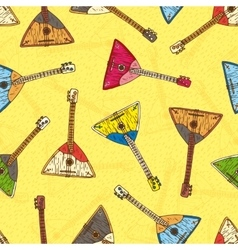 Seamless Pattern with Colorful Wooden Balalaikas vector image
