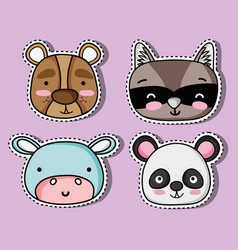 Set cute animal patches design vector