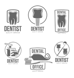 set dental logo vector image