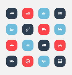 Set of 16 editable transportation icons includes vector