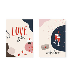set valentines day greeting cards invitations vector image