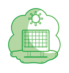 Silhouette solar energy with sunny weather vector