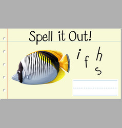 spell english word fish vector image