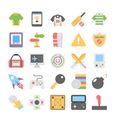 Sports and games flat colored icons 7 vector