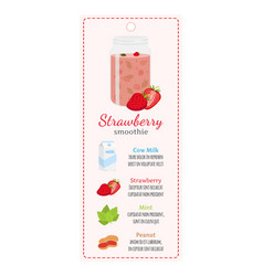 strawberry smoothie on labelrecipe of detox drink vector image