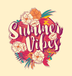 summer vibes typography banner round design vector image