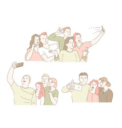 Taking selfie on smartphone classmates gathering vector