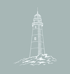 the lighthouse sketch hand drawn vector image