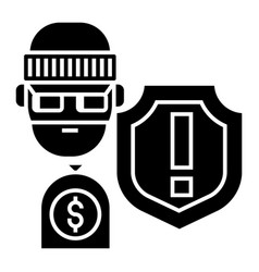 Theft - thievery - insurance against theft icon vector