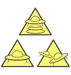 Three ufo warning icons - abduction attack and vector