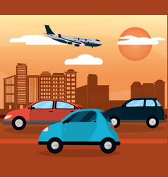 traffic highway city sunset vector image