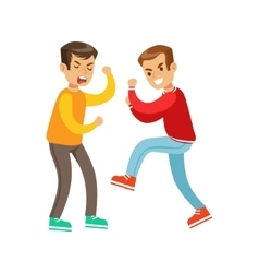 Two Screaming Boys Fist Fight Positions vector