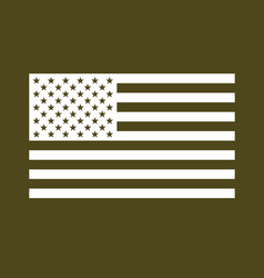 usa flag white on military olive drab vector image