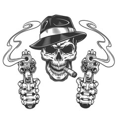 Vintage monochrome gangster skull smoking cigar vector