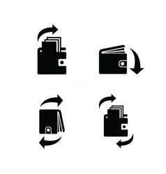Wallet and arrow set icon vector