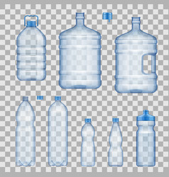 Water bottles and containers mockups vector