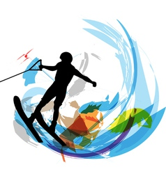 Water skiing man vector