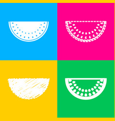 watermelon sign four styles of icon on four color vector image