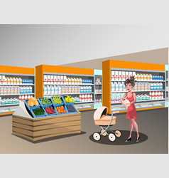 Woman with a baby shopping vector