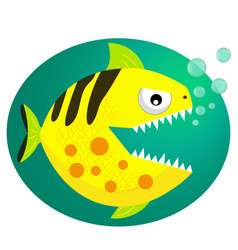 Yellow piranha fish flat style vector