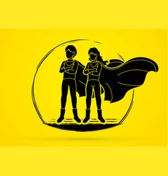 young boy and girl standingsuper heroes action vector image