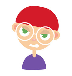 young man face angry facial expression cartoon vector image